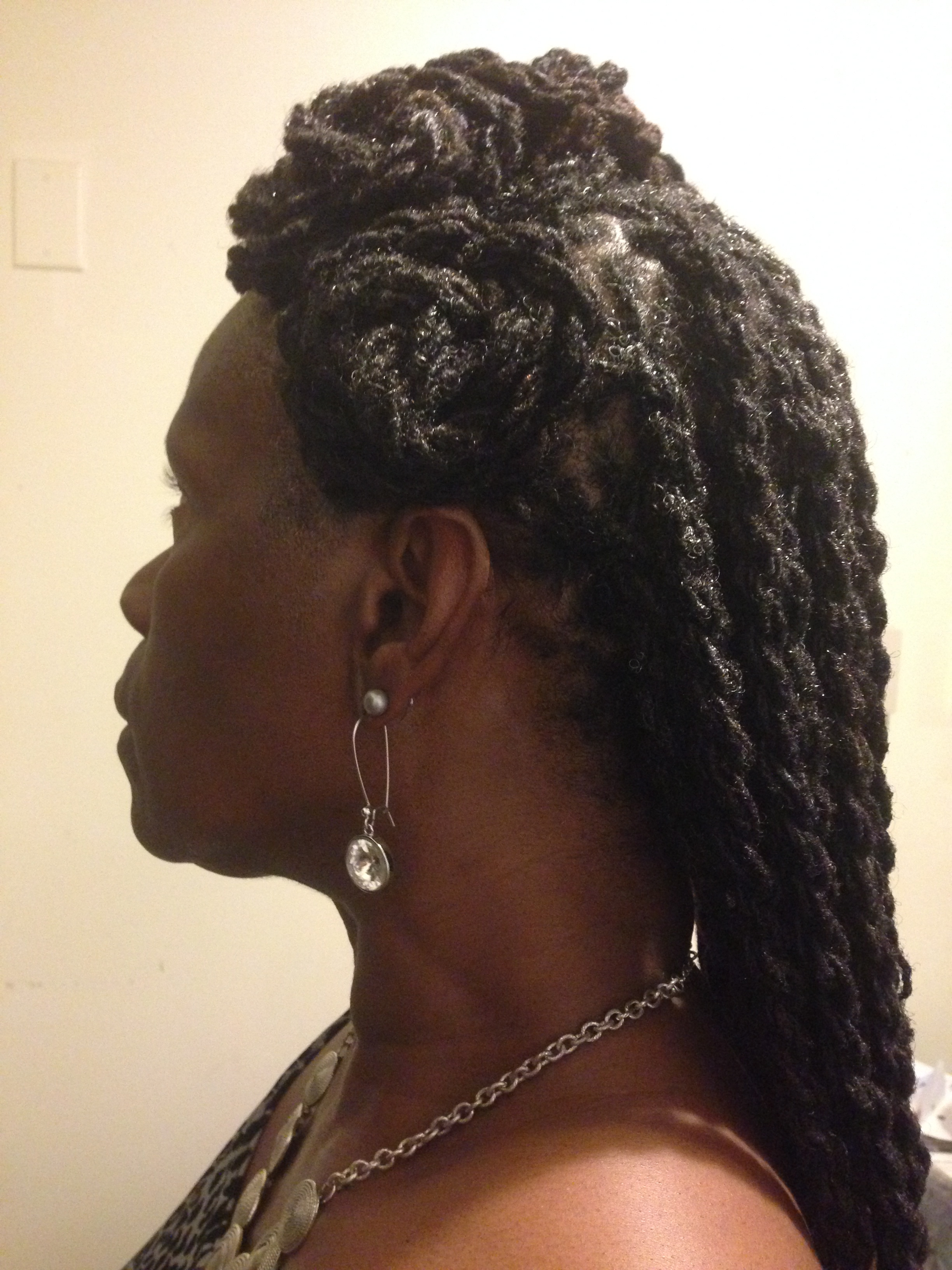 Two Strand Twist Half Updo with Locs